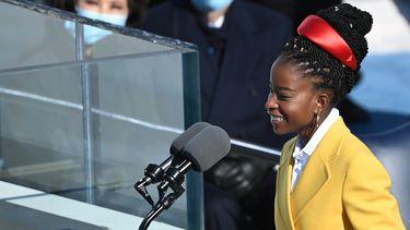 Amanda Gorman tijdens inauguratie