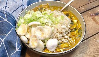 gele curry met vegetarische kip