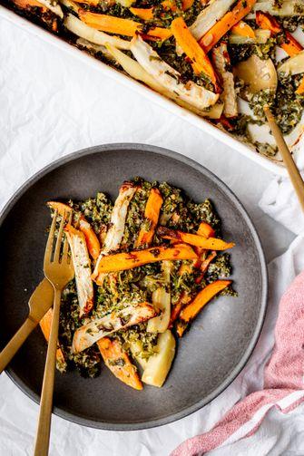 gratin van wintergroenten als vega meal prep recept