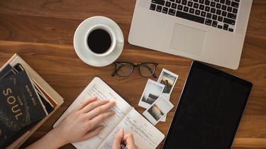 vrouw schrijft in notitieboek tijdens het thuiswerken